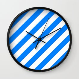 Diagonal Stripes (Azure/White) Wall Clock