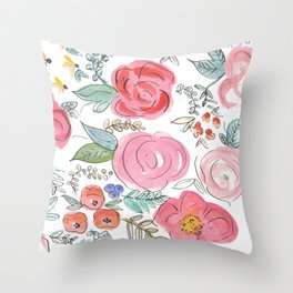 Watercolor Floral Print Throw Pillow