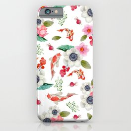 Modern pink red watercolor tropical floral koi fish pattern iPhone Case