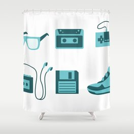 I Love the 80s in Blue - Sneakers Retro Walkman Sunglasses Video Game Controller Shower Curtain