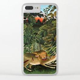 """Henri Rousseau """"A Lion Devouring its Prey"""", 1905 Clear iPhone Case"""