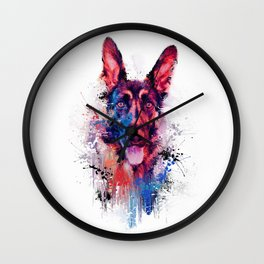 Drippy Jazzy German Shepherd Colorful Dog Art by Jai Johnson Wall Clock