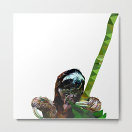 Sloth Low Poly Metal Print