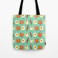 new york skyline Tote Bags featuring Let's All Go And Have Breakfast by Teo Zirinis