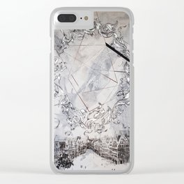Black and white abstract city landscape Clear iPhone Case