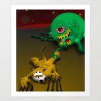 Cat vs Alien Art Print