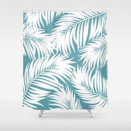 Palm Tree Fronds White on Soft Blue Hawaii Tropical Décor Shower Curtain