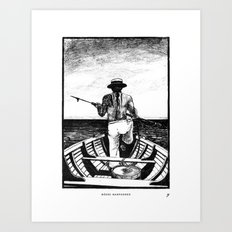 Māori Harpooner Art Print