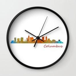 Columbus Ohio, City Skyline, watercolor  Cityscape Hq v1 Wall Clock