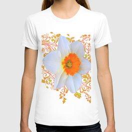 SPRING DAFFODIL SCROLLS ART GARDEN PATTERN T-shirt