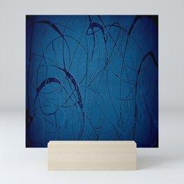Pollock Inspired Blurred Blues Party - Corbin Henry Postmodernism Best Mini Art Print