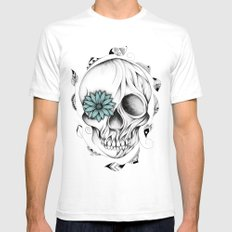 Poetic Wooden Skull White Mens Fitted Tee SMALL