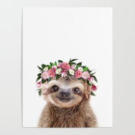 Baby Sloth With Flower Crown, Baby Animals Art Print By Synplus Poster