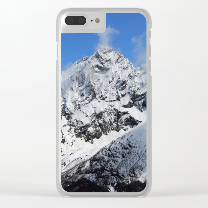 Mountain with snow Clear iPhone Case