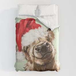 Christmas Highland Cow in Green Comforters