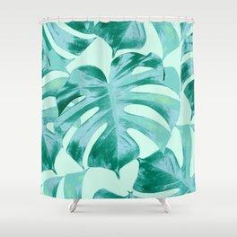 Tropical Monstera Leaves Dream #4 #tropical #decor #art #society6 Shower Curtain