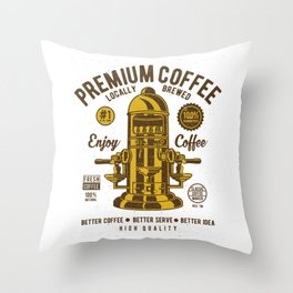 Classic Coffee Maker - Locally Brewed Throw Pillow