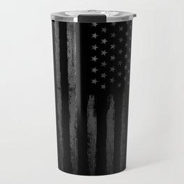 Grey Grunge American flag Travel Mug