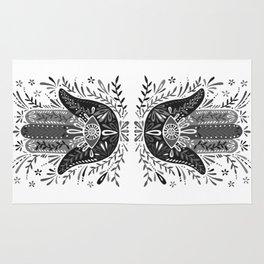Hamsa Hand – Black & Grey Palette Rug