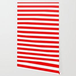 Australian Flag Red and White Wide Horizontal Cabana Tent Stripe Wallpaper