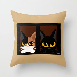 Lovely two cats Throw Pillow