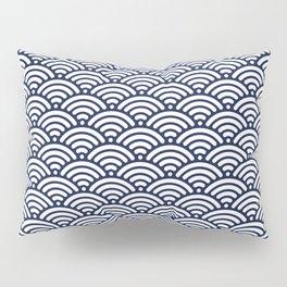 Navy Blue Seigaiha Sea Wave Nautical Minimalist Pillow Sham