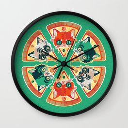 Pizza Slice Cats  Wall Clock