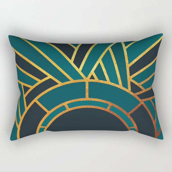 Art Deco Sunset In Teal Rectangular Pillow