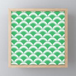 Japanese Fan Pattern 138 Green Framed Mini Art Print