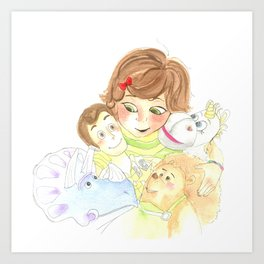 Bonnie and her toys Art Print