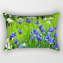 BLUE & WHITE  IRIS FLOWER GARDEN Rectangular Pillow