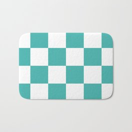 Large Checkered - White and Verdigris Bath Mat