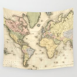 Vintage Map of The World (1840) Wall Tapestry