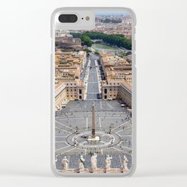 Saint Peter's Square in Vatican and aerial view of Rome Clear iPhone Case