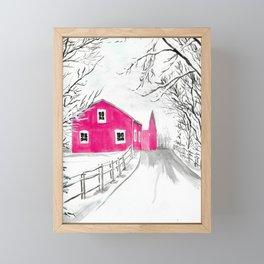 Red Barn in the Snow Framed Mini Art Print