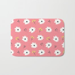 Modern hand painted pink white yellow floral illustration Bath Mat