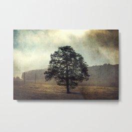 Golden Morning - Lone Tree at Sunrise Metal Print