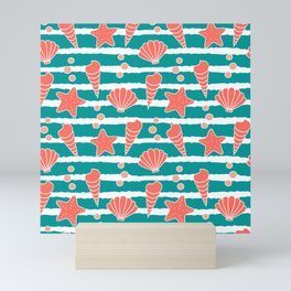 cute striped pattern with seashells and starfishes in living coral color Mini Art Print