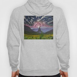 Oil paint on canvas painting of a fantasy landscape with a castle, mountains, cloudy sky Hoody
