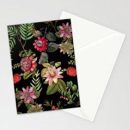Midnight Summer Exotic Passiflora Flowers Garden Stationery Cards