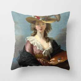 Louise Élisabeth Vigée Le Brun - Self Portrait in a Straw Hat Throw Pillow
