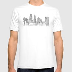 NYC Landmarks by the Downtown Doodler Mens Fitted Tee MEDIUM White