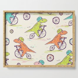 Cute Dino Bikers Doodle Serving Tray