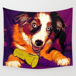 australian shepherd aussie dog puppy vector art late sunset Wall Tapestry