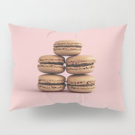 Macaroons on pink background Pillow Sham