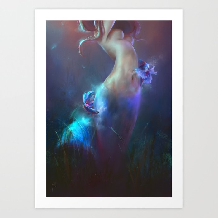 Fighting fishes Art Print