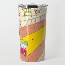 Shuffleboard Art from the 1960's. Retro Illustration. Travel Mug