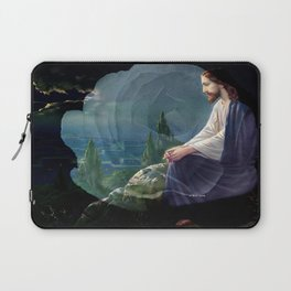 Jesus Christ On Mount Olive With White Rose By Annie Zeno Laptop Sleeve