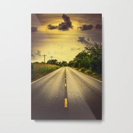 Louisiana Highway 82, an ample opportunity to see gators crossing the road Metal Print