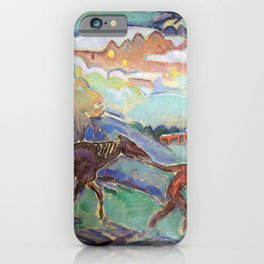 Man with a Horse, Nighttime landscape painting by William Sommer iPhone Case